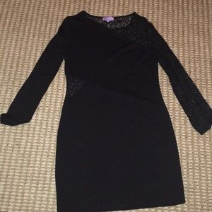 Black long sleeve bodycon dress with lace